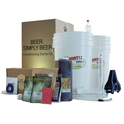 Midwest Supplies Beer. Simply Beer. - HomeBrewing Beer Brewing Starter Kit - 5 Gallons Beer Making Pale Ale Recipe Kit With 6.5 Gallon Fermenting Bucket Equipment