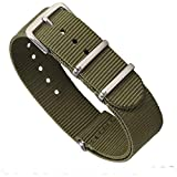 Premium Canvas Fabric Watch Bands Ballistic Nylon Straps Width,Army Green,18mm