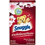 Snuggle Exhilarations Fabric Softener Dryer Sheets, Cherry Blossom & Rosewood, 70 Count