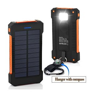 [Solar Battery Charger] 10000mAh Portable Solar Power Bank Dual USB Port Charger Battery with Led Light, Waterproof Solar Charger for iPhone, iPad, iPod, Samsung, Android phones