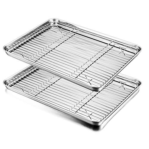 Baking Sheet with Rack Set, E-far Stainless Steel Baking Pans Tray Cookie Sheet with Cooling Rack, 16 x 12 x 1 inch, Non Toxic & Healthy, Rust Free & Dishwasher Safe - 4 Pieces (2 Sheets + 2 Racks)