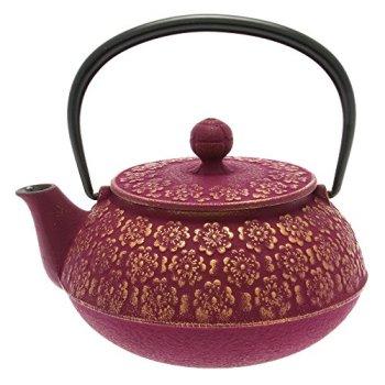 Iwachu Japanese Iron Tetsubin Teapot, Cherry Blossoms, Gold and Purple