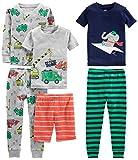 Simple Joys by Carter's Boys' Toddler 6-Piece Snug Fit Cotton Pajama Set, Transportation/Elephant/Stripes, 3T