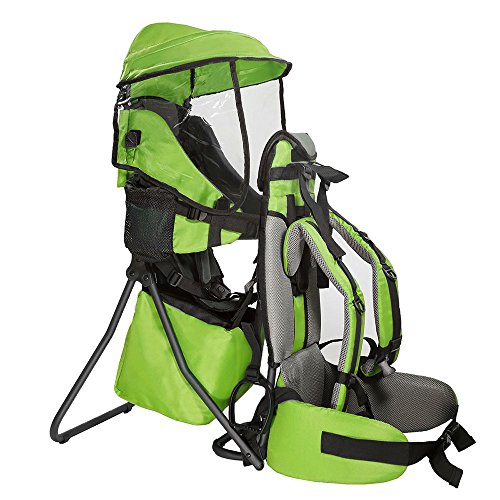 Clevr Premium Cross Country Baby Backpack Hiking Child Carrier with Stand and Sun Shade Visor Kid toddler, Green | Lightweight - 5lbs | 1 Year Limited Warranty
