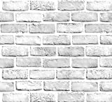 Yancorp White Gray Brick Wallpaper Grey Self-Adhesive Contact Paper Home Decoration Peel and Stick Backsplash Wall Panel Door Stickers Christmas Decor (18'x120')