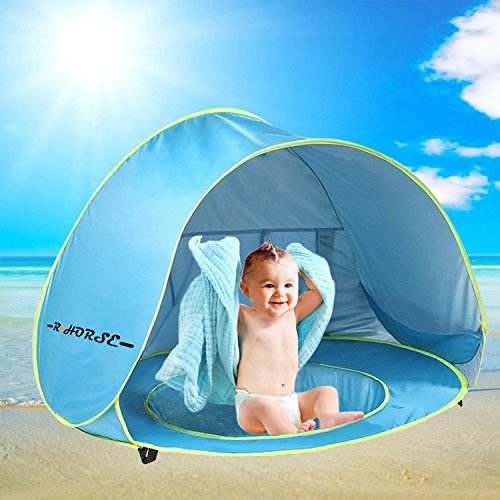 R • HORSE Baby Pool Tent Baby Beach Tent with Pool and Fluorescent Wristband 50+UPF UV Protection Sun Shelter for Infant Aged 0-3
