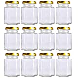 12 pack 4 oz Clear Glass Jam Jars for Jam,Honey,candies,sauce,Baby Foods,Jelly Wedding Favors,DIY Magnetic Spice Jars(Comes with gold lids)