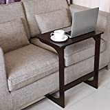 HOMFA Bamboo Snack Table Sofa Couch Coffee End Table Bed Side Table Laptop Desk Modern Furniture for Home Office, Retro Color