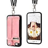 iPhone 7/8 Wallet Case Lanyard Neck Strap TOOVREN iPhone 7/8 TPU Protective Purse Case Cover with Kickstand Leather PU Card Holder Adjustable Detachable Necklace for Anti-Lost and Outdoors Pink