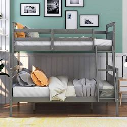 Bunk Bed, Twin Over Full Solid Wood Bunk Bed Frame for Kids and Teenagers, Grey