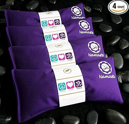 Namaste Yoga Lavender Eye Pillows - 4 Pieces - Purple Cotton By Happy Wraps
