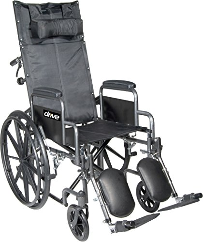 Drive Medical SSP16RBDDA Silver Sport Reclining Wheelchair with Detachable Desk Length Arms and Elevating Leg Rest, Silver Vein