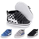 Baby Girls Boys Canvas Sneakers Soft Sole High-Top Ankle Infant First Walkers Crib Shoes (6-12 Months Infant, E/Black)