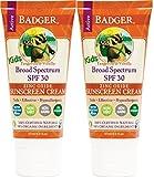 Badger - SPF 30 Kids Sunscreen Cream, Tangerine and Vanilla - 2.9 Fl Oz Tube (2 Pack)