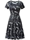 FENSACE Womens Short Sleeves Casual A-Line Halloween Pumpkin Dress,X-Large, 17038-10