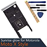 X3 Style Dual SIM Card Tray + Micro SD Card Slot Compatible with Motorola Moto X Style Moto X Pure Edition XT1572 XT1570 XT1575 Silver