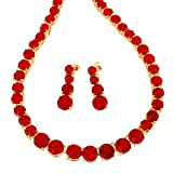 RIZILIA Jewelry Set with 19' Necklace & Dangle Earrings Round Cut CZ [Simulated Red Garnet] in Yellow Gold Plated, Simple Modern Elegant