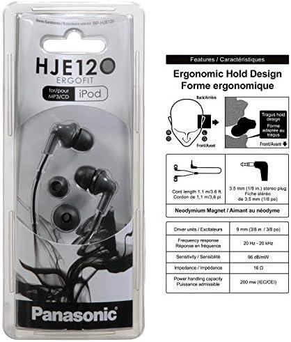 Panasonic ErgoFit In-Ear Earbud Headphones RP-HJE120K Dynamic Crystal-Clear Sound, Ergonomic Comfort-Fit, 9mm, Black 16
