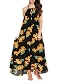 Product review for Zeagoo Women's Boho Floral Print Long Maxi Dress Casual Backless Beach Sundress