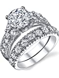 925 Sterling Silver Cubic Zirconia Engagement Ring Set, Size 7