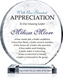 Personalized Boss Appreciation Gift Plaque for Woman, Customized with boss Name and Leadership Quote, Unique Boss Award for Her on Retirement, Farewell, Birthday, Christmas, Boss Day (M - 6.5')
