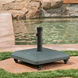Great Deal Furniture 303990 Louise Outdoor Green Concrete Square 80lb Base with Steel Umbrella Holder, 19.60 x 19.60 x 16.30,