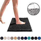 DEARTOWN Non-Slip Shaggy Bathroom Rug,Soft Microfibers Chenille Bath Mat with Water Absorbent, Machine Washable(Black,20x32 Inches)