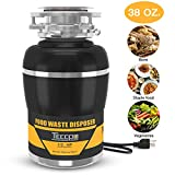 Garbage Disposal, TECCPO 1/2 HP Garbage Disposals 38 OZ. Capacity with Power Cord, Splash Guard, Disposal Flange, Stopper, Hex Wrench - TAGD01P