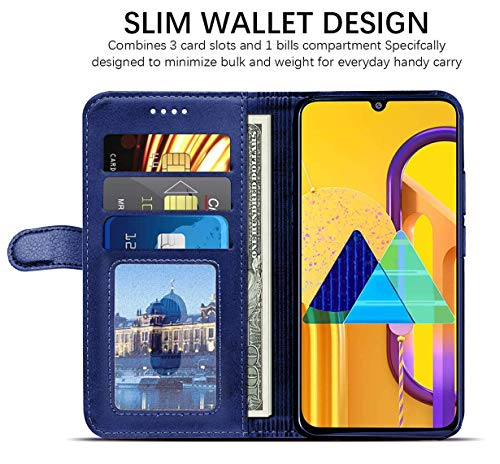 51h6abLwFyL - WOW Imagine Galaxy M21 / M30s Flip Case | Leather Finish | Inside TPU with Card Pockets & Stand | Magnetic Closure | Shock Proof Wallet Flip Cover for Samsung Galaxy M30s / M21 - Blue