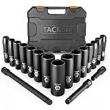 Drive Impact Socket Set, Tacklife 18pcs 1/2-inch Drive Deep Impact Socket Set, 6 Point, 10 - 24mm,...