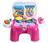 PowerTRC Electric Portable Kids Kitchen Cooking Set Toy - Lights & Sounds - Folds Into Stepstool