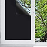 """Blackout Window Film, Non Toxic Smell Privacy Window Film Adhesive Residential DIY,100% Light Blocking , Nap Time, Night Working, Heat Rejection, Baby Room and Day Sleeping (Matte Black, 17.7""""x 78.7"""")"""