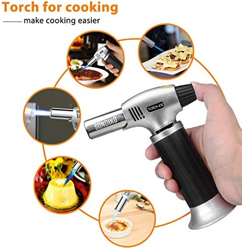 Sondiko Butane Torch, Refillable Kitchen Torch Lighter, Fit All Butane Tanks Blow Torch with Safety Lock and Adjustable Flame for Desserts, Creme Brulee, BBQ and Baking(Butane Gas Not Included)