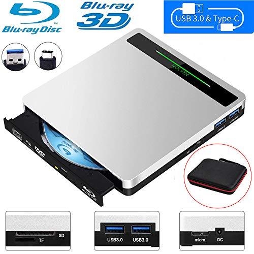 NOLYTH External Bluray Drive 5-in-1 External Blu Ray Drive USB3.0 Bluray Drive Player Burner for Laptop/MacBook/Windows10/PC with SD TF Card Reader/2 USB3.0 Hub/BD-ROM/R/RE