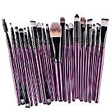 KOLIGHT 20 Pcs Pro Makeup Set Powder Foundation Eyeshadow Eyeliner Lip Cosmetic Brushes (Black+Purple)