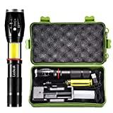 LED Tactical COB Flashlight, Ledeak CREE T6 1000 Lumens Ultra Bright Powerful Tail Magnet Flashlight, 6 Modes Waterproof Handheld Zoomable Work Light, Rechargeable Battery + USB Charger Included