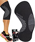 Physix Gear Knee Support Brace - Premium Recovery & Compression Sleeve for Meniscus Tear, ACL, MCL Running & Arthritis - Best Neoprene Stabilizer Wrap for Crossfit, Squats & Workouts (Single Grey L)