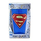 Silver Buffalo SP80031P DC Comics Superman Logo Mesh Print Pint Glass, 16-Ounces
