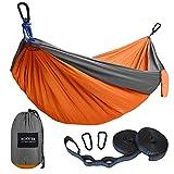 Kootek Camping Hammock Portable Indoor Outdoor Tree Hammock with 2 Hanging Straps, Lightweight Nylon Parachute Hammocks for Backpacking, Travel, Beach, Backyard, Hiking (Grey/Orange, L)