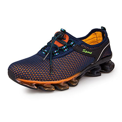GOMNEAR Running Shoes Men Slip On Mesh Casual Breathable Fashion Stylish Sneakers Athletic Shoes, Dark blue-46