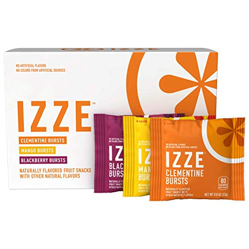 IZZE Bursts Organic Fruit Snacks, 3 Flavor Variety Pack, .8oz Pouches, 18Count