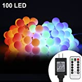 ALOVECO 33ft 100 LED Globe String Lights Plug in, 8 Dimmable Lighting Modes with Remote & Timer, UL Listed 29V Low voltage Waterproof Decorative Lights for Bedroom, Patio, Garden, Party(Multi Color)