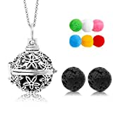 "Lava Stone Aromatherapy Essential Oil Diffuser Necklace Pendant/Locket Antique Silver with 24"" Chain and 6 Cashmere Sustained Release Ball"