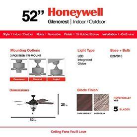 Honeywell-Ceiling-Fans-50615-01-Glencrest-52-Indoor-Outdoor-LED-Edison-Bulbs-ETL-Damp-Rated-Aged-TeakDark-Walnut-Blades-Oil-Rubbed-Bronze