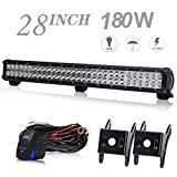 UNI FILTER DOT Approved 28Inch 180W LED Light Bar LED Work Light Spot Flood Off Road Driving Lamp With Wiring Harness For ATV UTV Off road Jeep Truck Boat Car F150 F250 SUV 4WD