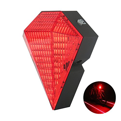 lanji Bike Tail Lights USB Rechargeable Bike Cycling Safety Zone Tail Light 8 LED with 2 Red Laser Rear Lamp Safety Zone Tail Light Red