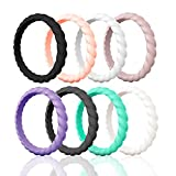 Egnaro Silicone Wedding Ring for Women,Thin and Stackble Braided Rubber Wedding Bands,No-Toxic,Skin Safe (13-Black,Rose Gold,White,Pink Sand,Ultra Violet,Black Gray,Mint Green,Ivory, 6(16.5mm))