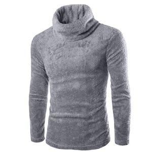 black-shop New Winter Thick Warm Sweater Men Turtleneck Slim Fit Pullover Men Knitwear Double Collar Male Outwear