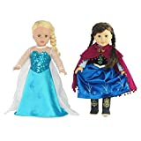 Emily Rose Fits 18' American Girl Dolls | Princess Elsa and Anna Inspired Outfit Set | 18 Inch Doll Clothes Dress Costume Gown