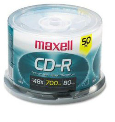 Maxell MAX648250 Branded CD Recordable Media, CD-R, 48x, 700 MB, 50 Pack Spindle for Most CD Recorders 40X Speed Certified Recording